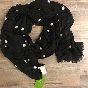 NEW! Kate Spade Black Light Scarf with White Dots